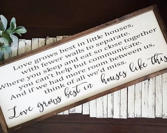 """Love Grows Best In Houses Like This. 13""""x 36"""" Rustic framed sign. . Framed wood sign. Rustic Framed Sign. Farmhouse Style."""