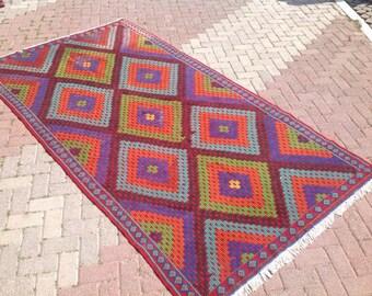 Turkish Kilim rug, 119'' x 63'',  Vintage Turkish rug, rug, colorful area rug, vintage rug, bohemian rug, eccentric rug, purple area rug,439