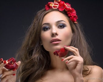 Wedding Hair Tiara, Bridal Flower Tiara, Wedding Hair Circlet, Red Flower Crown, Red Bridal Headpiece, Pomegranate Crown, Red headpiece