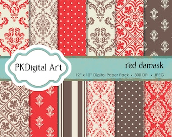 "Red Damask Digital Paper - ""Red Damask""  Scrapbook Paper Background Crafting Supplies"