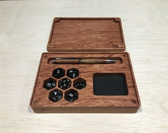 Rosewood Game Vault - Custom Exotic Wood Miniature and Dice Box for RPG players - Dungeons & Dragons, Pathfinder, and more