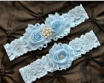 SALE Wedding Garter Belt, Bridal Garter Set - Blue Lace Garter, Keepsake Garter, Toss Garter, Baby Blue Wedding Garter, Light Blue Wedding G