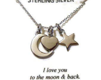 Vintage Sterling Silver I Love You To The Moon and Back Necklace by Footnotes