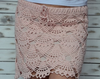 Crochet skirt, lace beach skirt, short pink skirt, boho beach skirt, summer skirt, lined lace pencil skirt, mini skirt lace, beach coverup