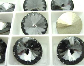 6 Silver Night Swarovski  Rivoli Stone 1122 14mm