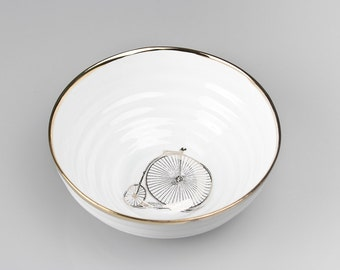 Porcelain Bowl with Bicycle, White Ceramic Bowl, Bike Lover Gift