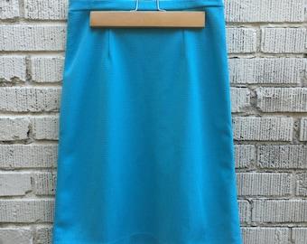 60s Blue Skirt. 1960s High Waist Skirt. Medium.