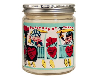 Valentine Candle, Custom Scented Candle, Container Candle, Soy Candle, Vintage Candle, Valentines Day Gift, Vintage Valentine Day,
