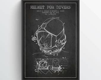 1976 Helmet For Divers Patent Poster, Diving Suit print, Scuba Diving Poster, Patent Art Print, Patent Print, Home Decor, Gift Idea, NA32P