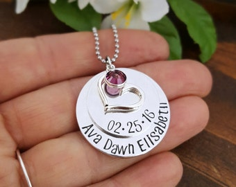 New Mommy Necklace With Baby's Name and Birth date | Mothers Keepsake Necklace | Gift For New Mom