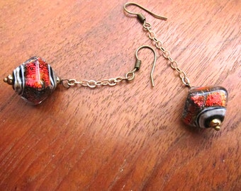 CHAINED Glass Earrings: Iridescent Red or Amber Shimmer Murano Glass Dangles, Handcrafted Jewelry, Handmade Boho Chic Jewelry