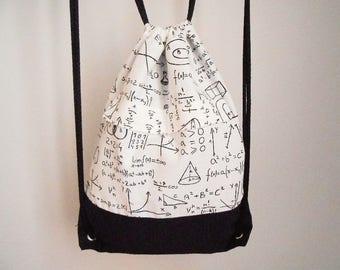Maths backpack, geek backpack, zipper backpack, drawstring backpack pockets, equation fabric backpack, teacher gift, nerd gift, men backpack