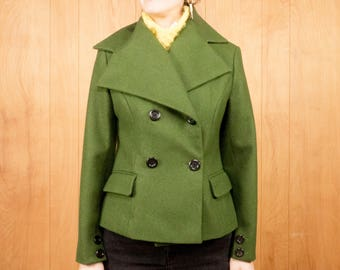 90s Cropped Avant Garde Retro Wool Coat Vintage Olive Green Oversized Collar Bell Sleeves Double Breasted~ Medium