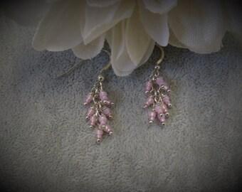 Pink Cluster Sterling Silver Earrings