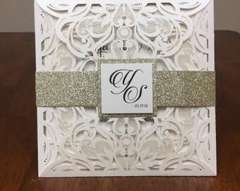 Ivory shimmer wedding invitation set: kit includes shimmer laser cut pocket, gold glitter belly band, printed invite & printed envelope