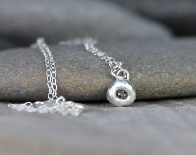Small Raw Diamond Necklace In Dark Grey, Rough Diamond Necklace, Black Diamond Necklace, April Birthstone Necklace