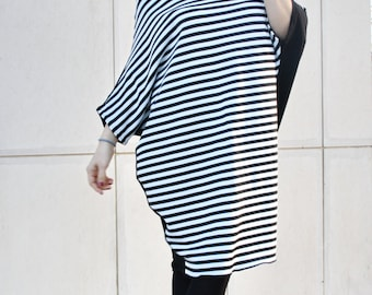 Striped Tunic / Striped Loose Top/ Off Shoulder Tunic/ Raglan Dress/ Midi Dress