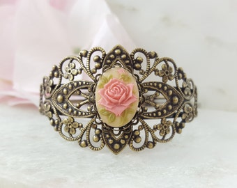 Vintage Rose Cuff, Pink Rose Bracelet, Bridesmaid Bracelets, Filigree Bracelet, Victorian Wedding, Cuff Bronze Ladies Bracelet, B5001