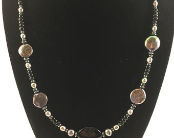 Beaded black pearl necklace