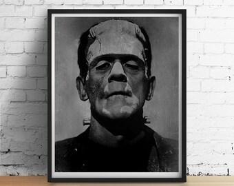 Vintage FRANKENSTEIN Print Chalkboard Distressed Black Grey White Halloween Art Poster Dorm Decor Monster, Various Sizes Frame Option