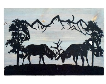 Handmade Reclaimed Wooden Pallet Sign Stags Rutting Theme A3 Size Wall Hanging Sign Hand painted Craft