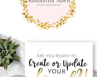 221 - Samantha Allen, LOGO Premade Logo Design, Branding, Blog Header, Blog Title, Business, Boutique, Custom, Modern, Gold, Dots, Pink