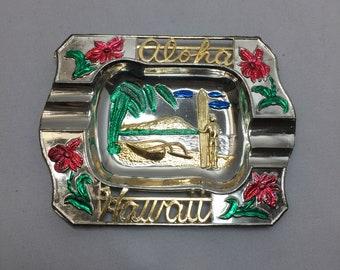 Hawaii State Vintage Souvenir Pot Metal Ashtray
