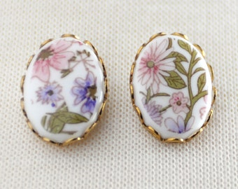 Floral Stud Earrings, Flower Stud Earrings, Pink Purple Flowers, Vintage Cabochon Earrings, Surgical Steel Studs, SRAJD