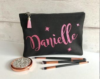 black makeup purse, customised cosmetic bag, bridesmaid gift, personalised makeup bag, accessory purse, makeup pouch, tassel bag, glitter