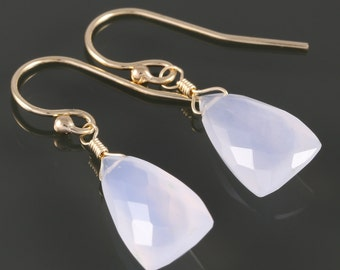 Pale Blue Chalcedony Earrings. Gold Filled Ear Wires. Unique Triangle Shape. Genuine Gemstone. f16e158