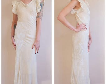 1930s Gown // Champagne Toast Silk Velvet Gown // vintage 30s gown