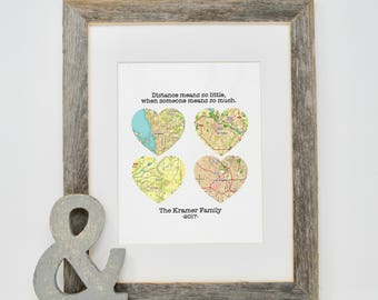 Family Map Print- Unique Family Gifts, Gift for Dad, Father's Day Gift, Map Print for Long Distance Families, Distance means so little, TP