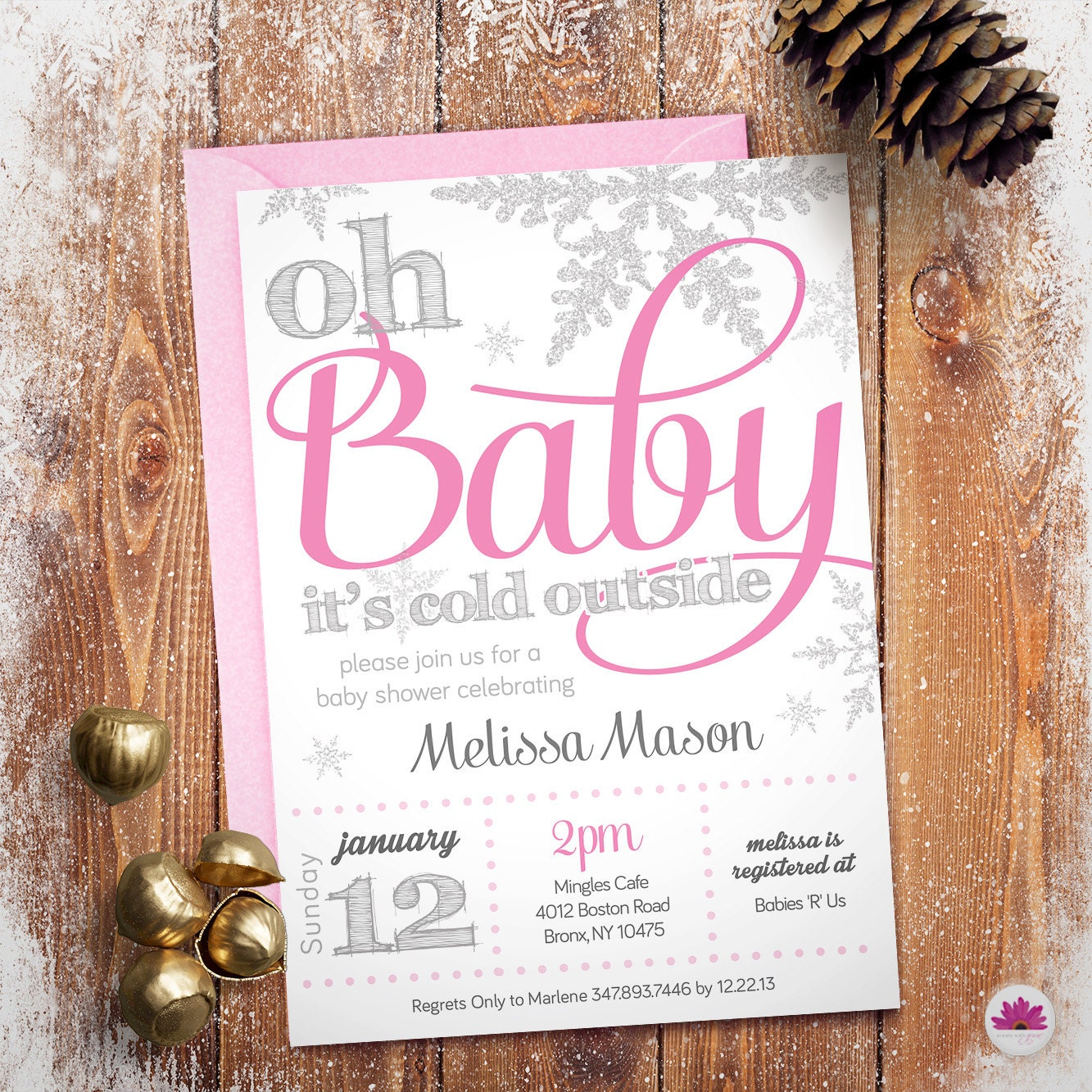 Baby Shower Invitation Winter Wonderland Theme Digital