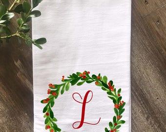 Monogrammed Farmhouse Christmas Holly Wreath Flour Sack Tea Towel, Personalized Towel, Wedding gift, Anniversary Gift, Housewarming Gift