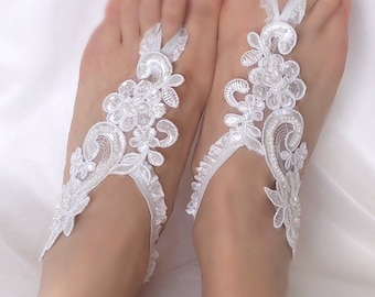 Exquisite beaded alencon lace barefoot sandals off white bridal lace sandals, barefoot sandal, lace anklets, bellydance, bridesmaid gift