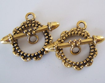 2 - Antiqued Gold Plated Scalloped Toggle