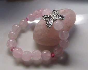 Natural rose quartz baby bracelet