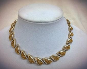 Coro Gold Filigree and White Enamel Necklace