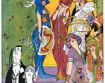 antique art deco fashion illustration the snobs digital download