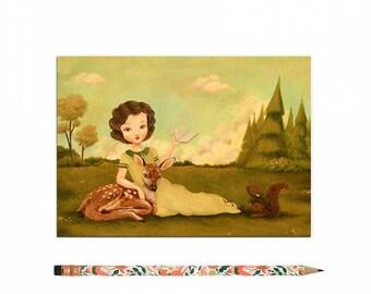 Book Lover Postcard, Bookworm Card, Reading, Animals, Woodland, Deer, Squirrel, Children's, Girl, Teacher, Cute, Book Lover, Bookworm, Story