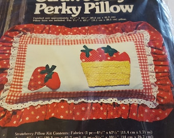 Strawberry Perky Pillow Kit / Vintage Sewing Pattern and Fabric / Pillow Slip Cover