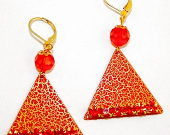 Orange Triangle Earrings