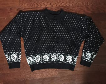 1990s sweater, 80s sweater, vintage sweater, polka dot sweater, leaf sweater, heart print sweater, small vintage sweater, grunge sweater,