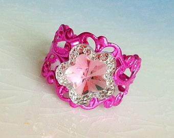 Star Ring - Princess, Magical Girl, Sweet Lolita, Pink, Filigree, Kawaii, Fairy Kei, Night Sky