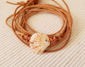 Wrap Bracelet made with round Tan Leather Cord,Beached Shell and Wood bead closure