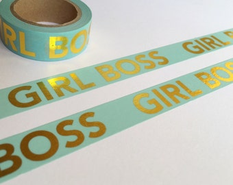 Aqua with Gold Foil GIRL BOSS Washi Tape 15mm x 10m EXCLUSIVE design