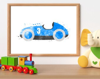 Watercolor race car print, race car printable, race car wall art, boy bedroom wall art, blue car watercolor, toddler wall art, race car art