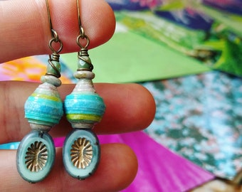 Liz-Ha Color Junkie Monoprint Scraps Paper Bead Earrings, Liz Carlson paper
