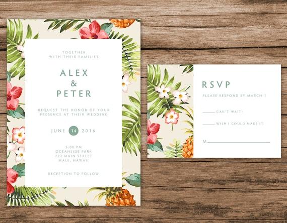 Tropical Wedding Invitations: Tropical Wedding Invitation Hawaiian Invitation Destination