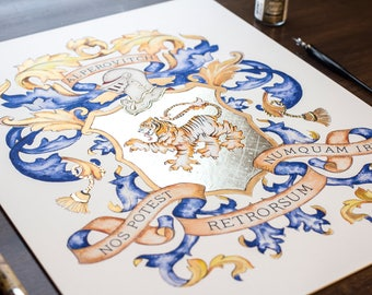 "Big 16 x 20"" custom print - Custom Family Crest / Custom Coat of Arms Original Heraldry Art print with Gold Leaf - unique anniversary gift"